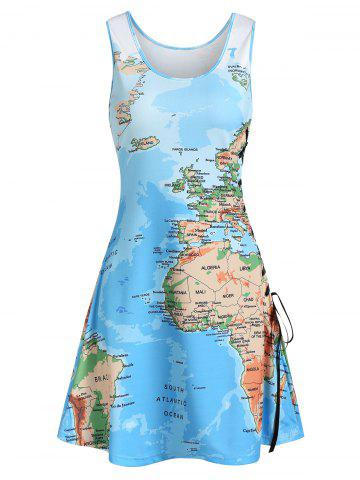 Lace Up Map Print Casual Tank Dress