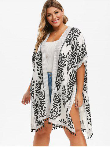 Printed Batwing Open Front Plus Size Blouse