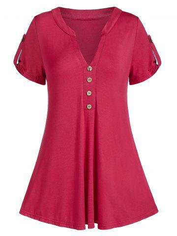 V Notch Buttoned A Line Tunic Tee