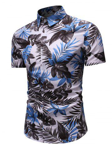 Leaf Print Button Up Short Sleeve Shirt