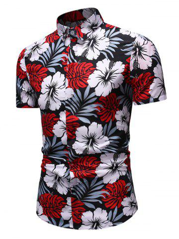 Flower Leaves Print Button Down Hawaii Shirt