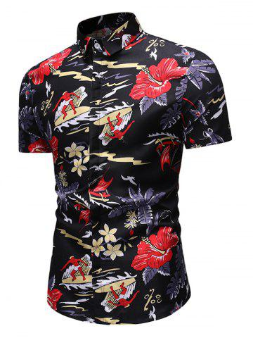 Flower Surfing Fish Print Hawaii Short Sleeve Shirt