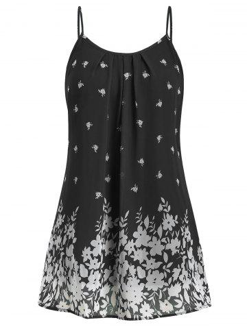Plus Size Floral Print Ruched Long Cami Tank Top