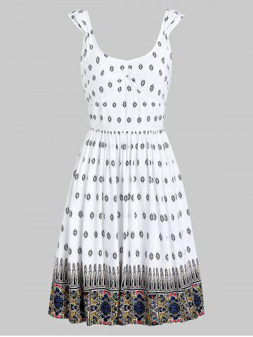 Scoop Neck Backless Printed Casual Dress