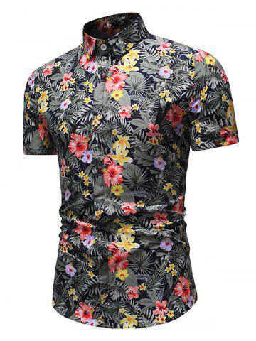 Tiny Flower Leaf Print Casual Short Sleeve Shirt
