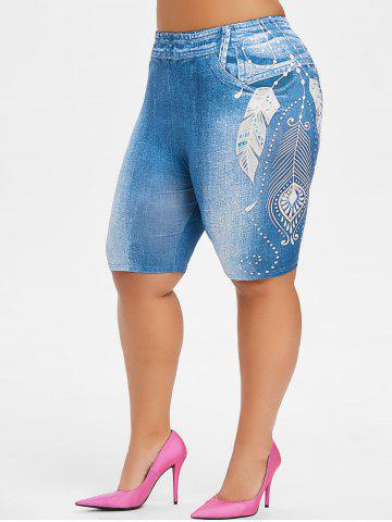 Plus Size Feather Print High Waisted Biker Shorts SILK BLUE
