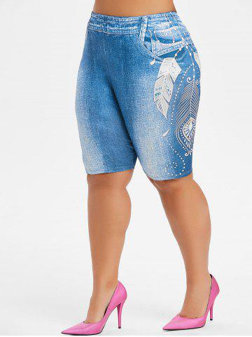 Plus Size Feather Print High Waisted Biker Shorts