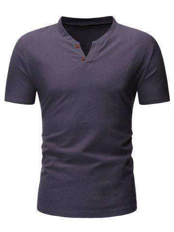 Solid Color Button Short Sleeves T-shirt