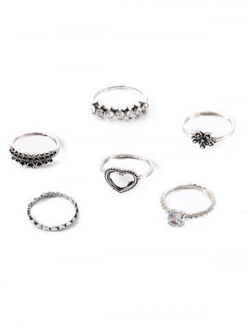 6Pcs Heart Floral Rhinestone Ring Set