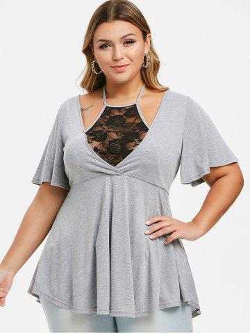Plus Size Lace Insert Halter Bell Sleeve T Shirt