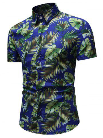 Tropical Leaf Pattern Casual Shirt
