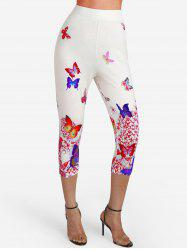 Butterfly Print High Waisted Capri Leggings -
