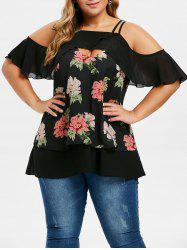 Plus Size Floral Overlay Ruffled Cold Shoulder Blouse -