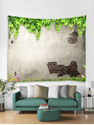 Peeled Wall Plant Leaf Butterfly Print Wall Tapestry -