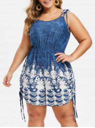 Plus Size Strappy Tie Shoulder Flower Print Cinched Romper -
