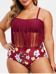 Contrast Fringed Floral Plus Size Bikini Swimsuit -