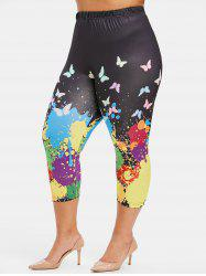 Plus Size Paint Splatter and Butterfly Print Capri Leggings -