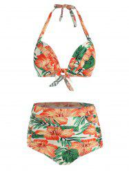 Floral Print Knotted Halter Bikini Swimsuit -