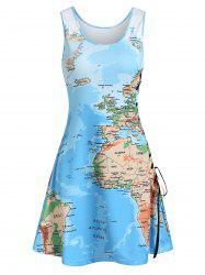 Lace Up Map Print Casual Tank Dress -