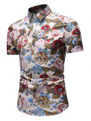 Flower Print Casual Button Up Shirt -