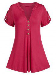 V Notch Buttoned A Line Tunic Tee -