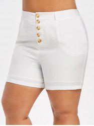 Plus Size High Rise Buttoned Shorts -