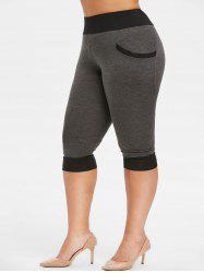 Plus Size Side Pockets Contrast Color Capri Leggings -