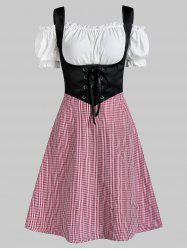 Plaid Print Lace-up Corset Dress and Off The Shoulder Top -