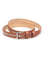 Grommet PU Leather Buckle Thin Belt -