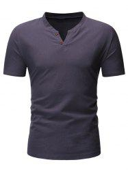 Solid Color Button Short Sleeves T-shirt -