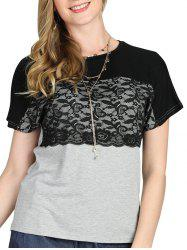 Lace Panel Two Tone Casual Tee -