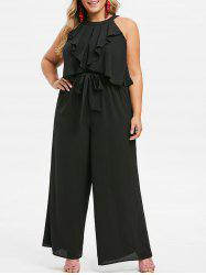 Plus Size Sleeveless Flounce Belted Wide Leg Jumpsuit -