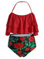 Plus Size Floral Print Overlay Ruffled High Waist Tankini Swimsuit -