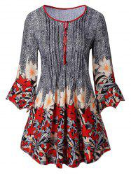 Plus Size Bell Sleeve Floral T-shirt -