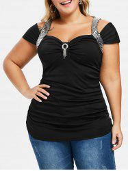 Plus Size Glitter Open Shoulder T Shirt -