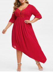 Plus Size Bell Sleeve Asymmetrical Maxi Flare Dress -