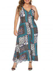 Scarf Print Open Back Maxi Plus Size Dress -