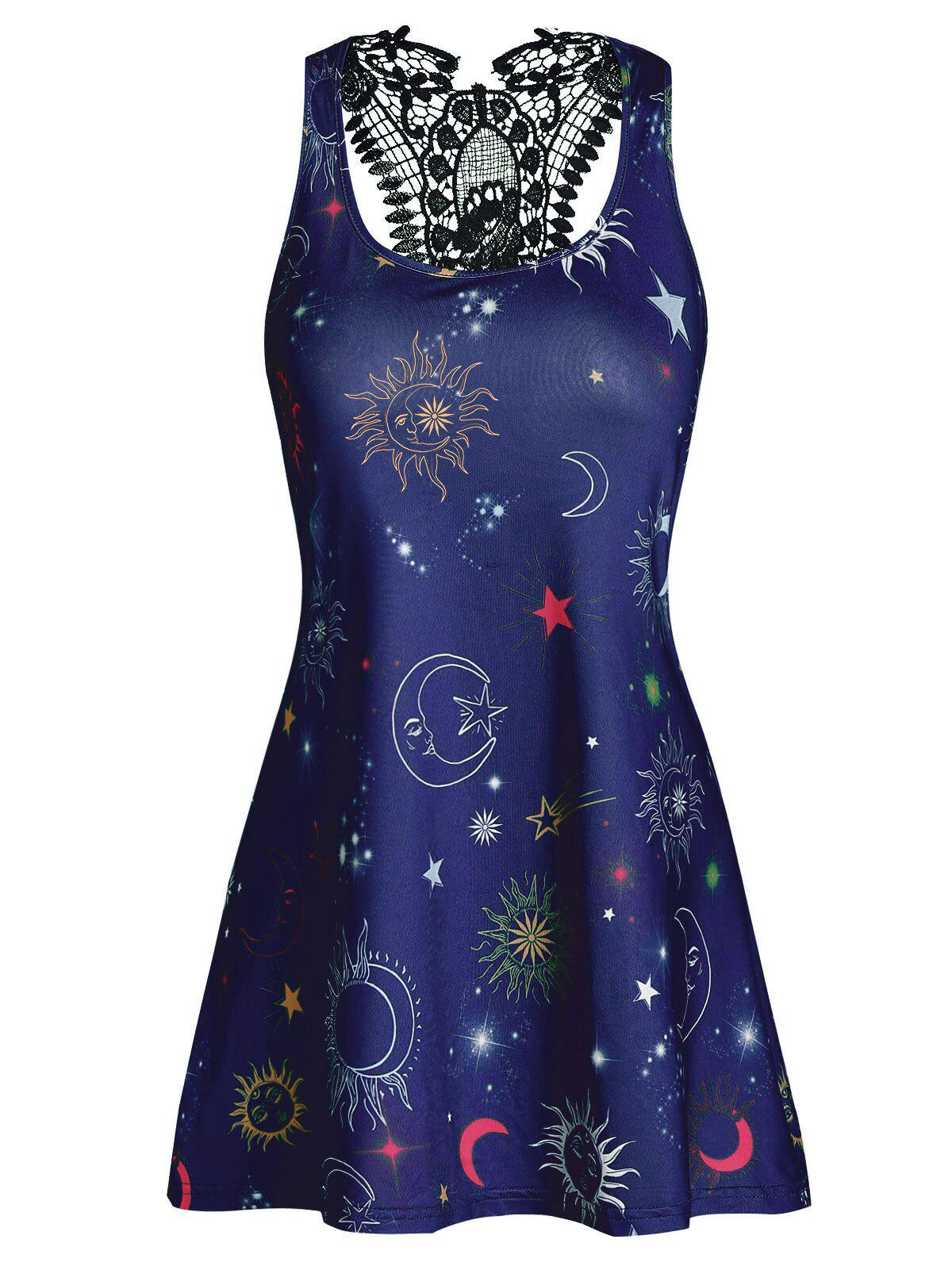 Fashion Flare Printed Lace Panel Tank Top