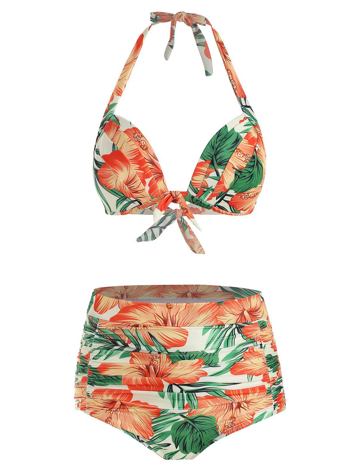 Fashion Floral Print Knotted Halter Bikini Swimsuit