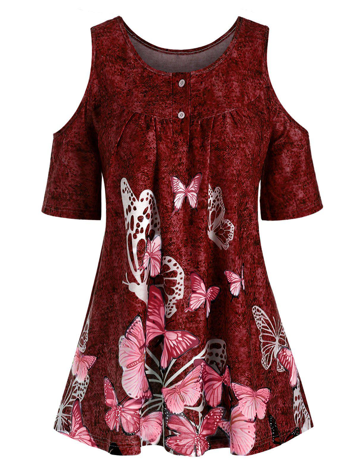 Best Denim Butterfly Print Open Shoulder Button Yoke T-shirt