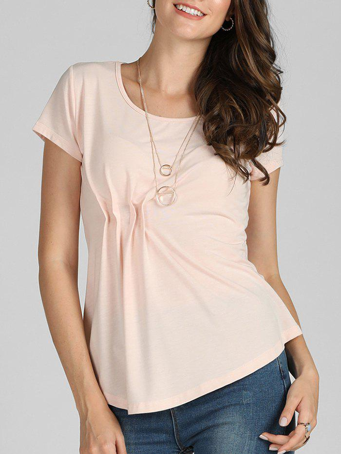 Trendy Solid Short Sleeve Pleated Casual Tee