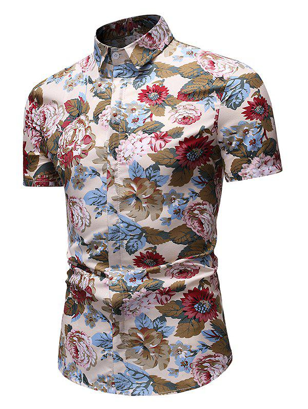 Outfits Flower Print Casual Button Up Shirt