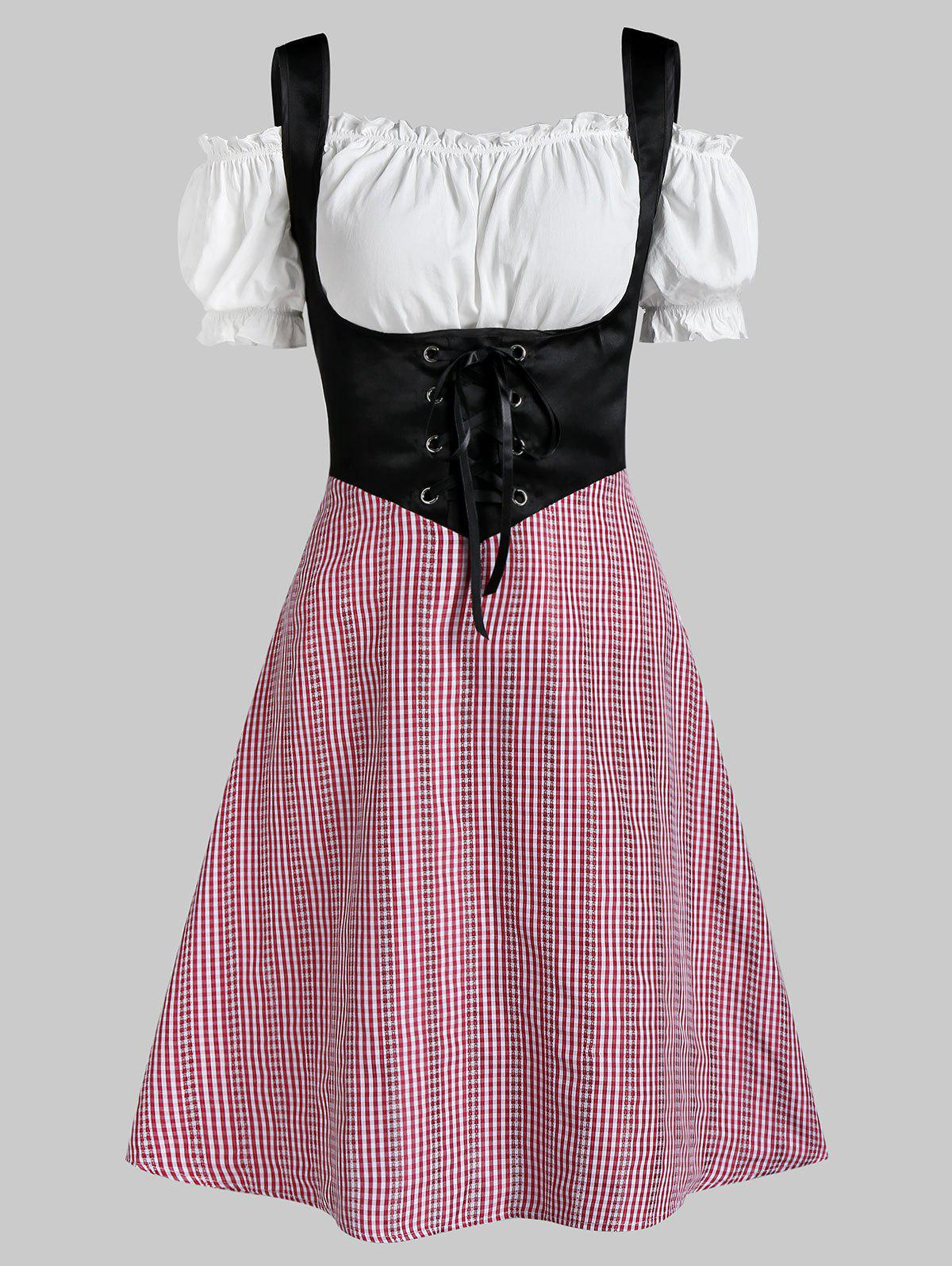 Hot Plaid Print Lace-up Corset Dress and Off The Shoulder Top