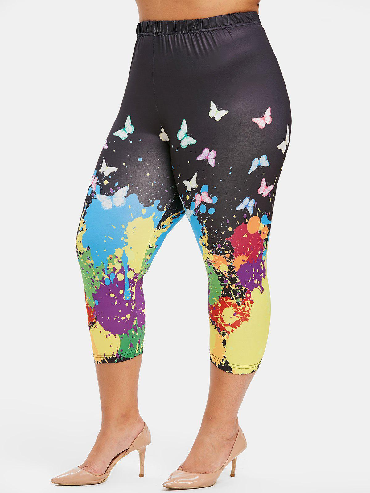Fancy Plus Size Paint Splatter and Butterfly Print Capri Leggings