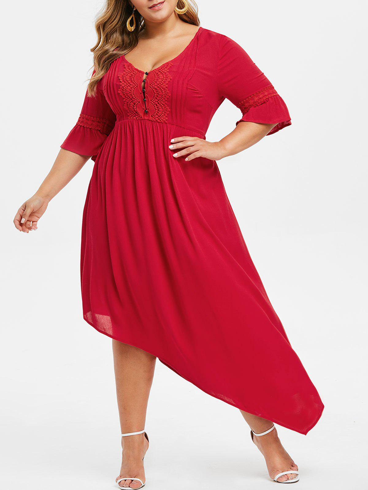 Chic Plus Size Bell Sleeve Asymmetrical Maxi Flare Dress