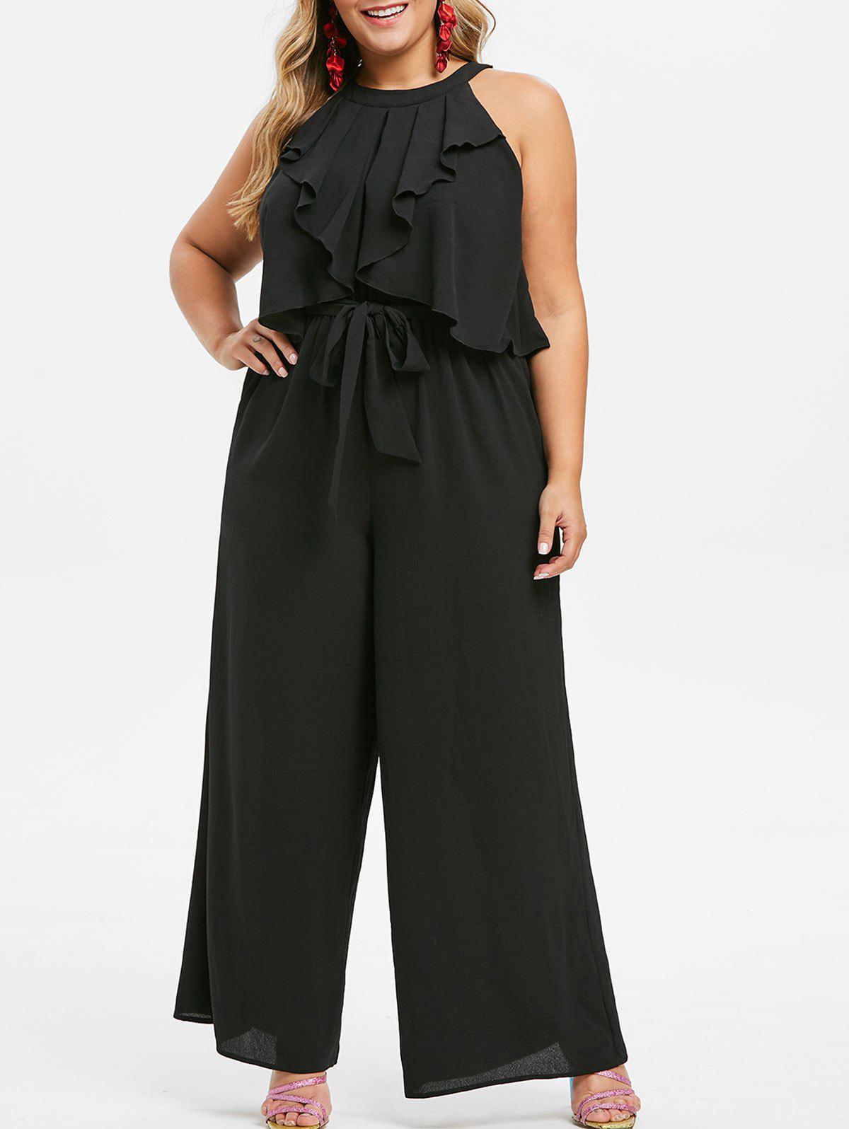 Fashion Plus Size Sleeveless Flounce Belted Wide Leg Jumpsuit