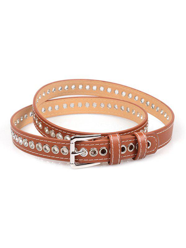 Fancy Grommet PU Leather Buckle Thin Belt