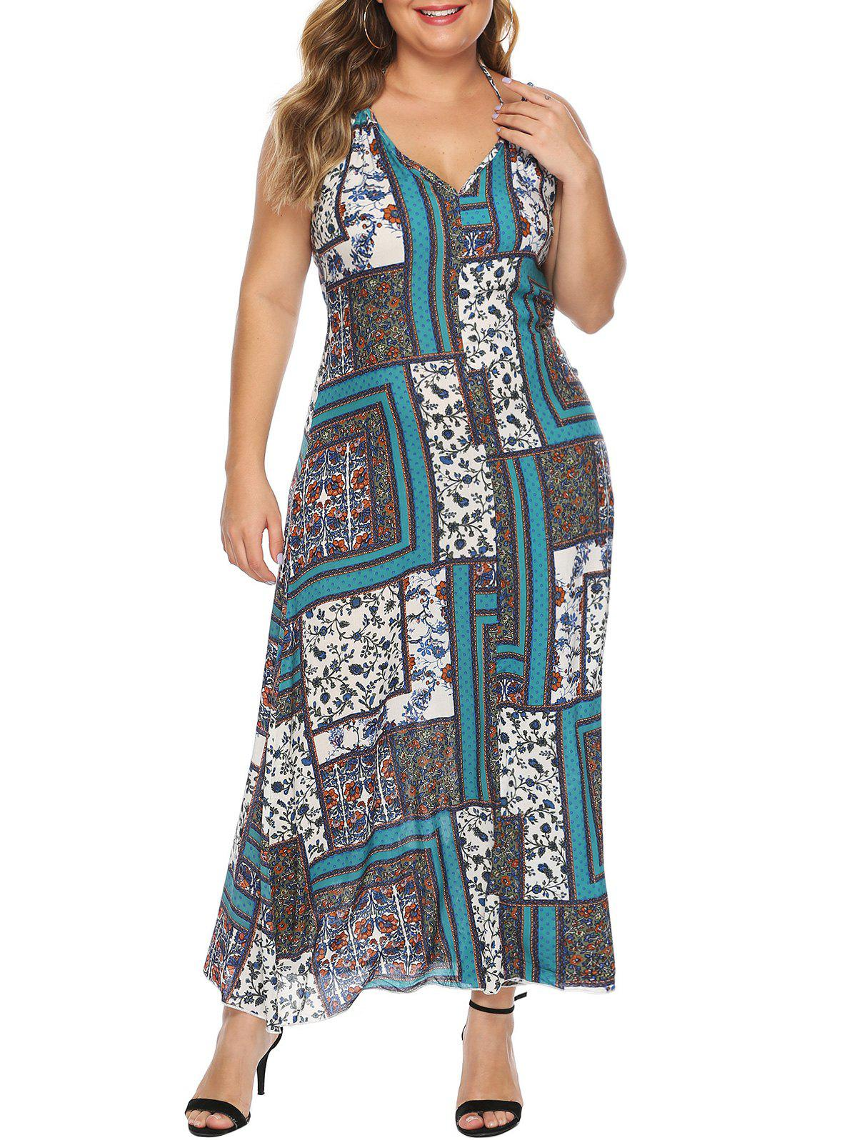 Best Scarf Print Open Back Maxi Plus Size Dress