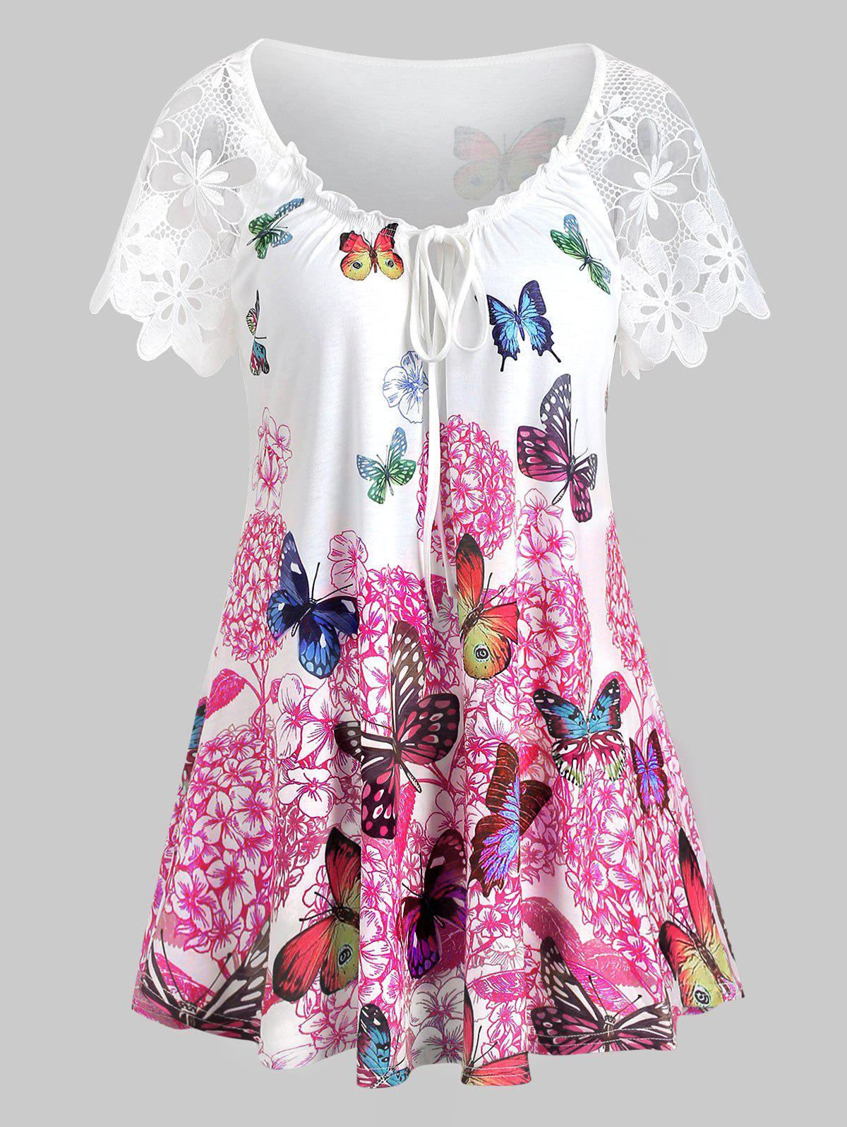 Trendy Butterfly Print Lace Sleeves Keyhole T-shirt