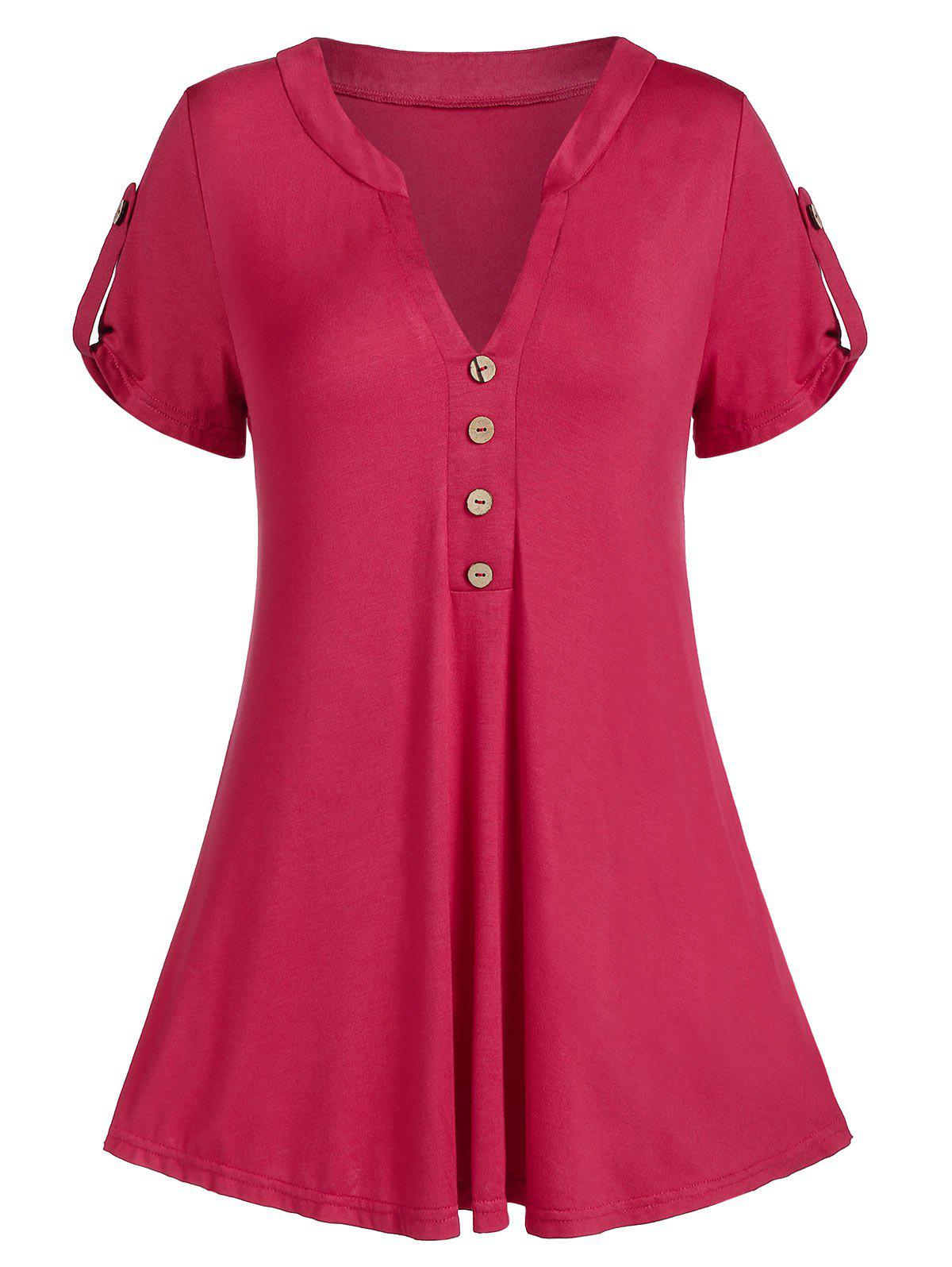 Trendy V Notch Buttoned A Line Tunic Tee